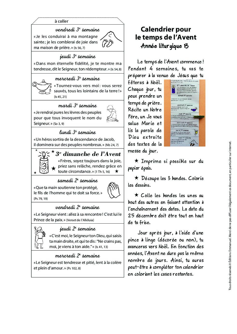 Calendrier Sans Annee.Calendrier De L Avent Annee Liturgique B Catechisme Emmanuel